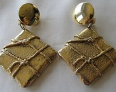 Vintage gold tone oversize square clip on earrings