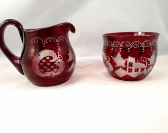 Czech Bohemian Glass Ruby Cranberry Open Sugar and Creamer, Mint Condition