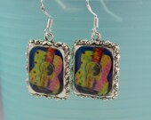 Guitar Music Earrings Jewelry Silver 3D Dimensional Picture Earrings