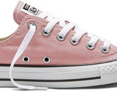 Daybreak Blush Pink Bridal Low Top Glass Slippers Swarovski Crystal Canvas Chuck Taylor Converse All Star Girls Sneaker Shoes