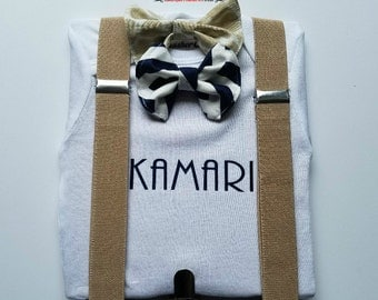 Personalized bow tie onsie with snap on bow ties and real suspenders