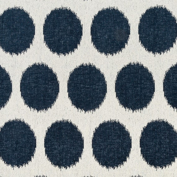 Navy Blue White Upholstery Fabric Large Scale Polka Dot