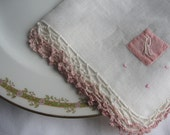Pink Monogrammed Vintage Hankie with Crocheted Edges, Tea Party Decor, Letter R Handkerchief, Shabby Chic, Heirloom Hankie, c. 1930s-1940s