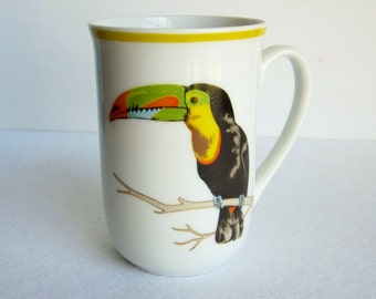 Vintage Toucan Mug, Porcelain Toucan Mug, Bird Mug, Tropical Bird Decor