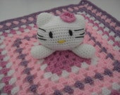 Crochet Kitty Lovey, Baby Security Blanket; Granny Square, pink, purple, white
