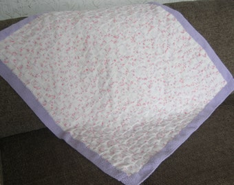 Hand knitted Baby Blanket / Afghan, Doodle Dots, soft lilac