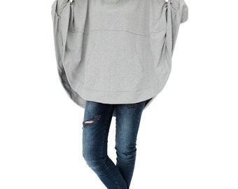 NO.176 Heather Grey Cotton-Blend Jersey Stylish Pullover Hooded Sweater, Dolman Sleeve Poncho, Women's Sweater