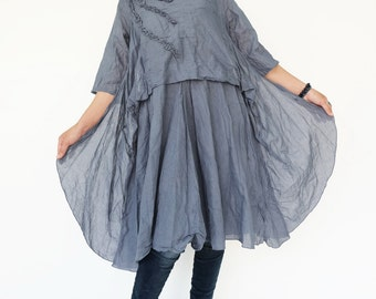 NO.145 Blueish Gray Cotton Floral Appliqué Tunic Dress, Day Dress