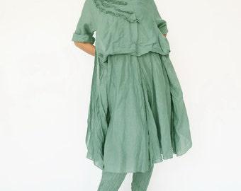 NO.145 Mint Cotton Floral Appliqué Tunic Dress, Day Dress
