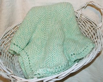 Pastel Green and Cream Hand-Knit Baby Blanket