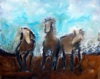 Horse Dream Original Oil Painting Wild Horses Southwest Art