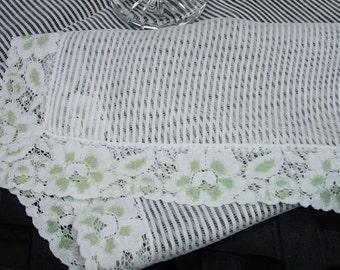 """Table runner, vintage, 1980s, lace edging, dresser scarf, table linen, dresser linen, 33x14"""", home decor, runner"""