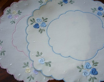 "Doilies set of Two, Embroidered detailing, Round doilies, Dresser doilies, Table linens, 8"" round, Guest room, Girls room, Cottage chic"