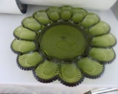 Vintage Green Deviled Egg Dish by Indiana Glass Co. - USA