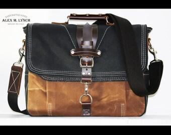 LARGE Waxed Canvas Messenger bag - laptop bag handmade by Alex M Lynch - 010021