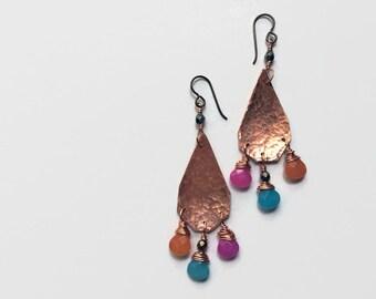boho chandelier earrings // hammered copper jewelry