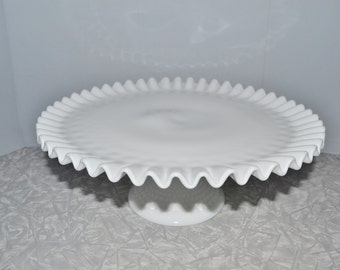 Fenton Hobnail Pedestal Cake Plate  ~ Vintage Cake Plate ~  Milk Glass ~ Epsteam