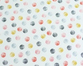 Large polka dot print in multi colour, Mori girl from dashwood studio, cotton fabric.