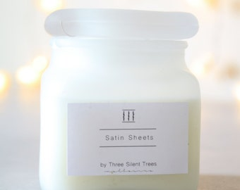 Three Silent Trees | Satin sheets soy candle | frosted square jar