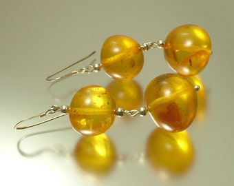Vintage/ estate sterling silver 925 and real Baltic honey amber drop earrings - 11 grams - jewelry / jewellery, UK seller