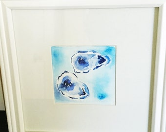Two Blue Oysters (Framed or Unframed) Original Watercolor Painting