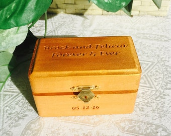 Personalized Wood Etched Trinket / Jewelry Box or Gift Box. Makes a great anniversary, wedding or bridal shower gift or favors.