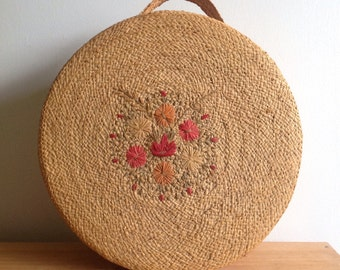Vintage Straw, Raffia Hat Box, Storage Basket