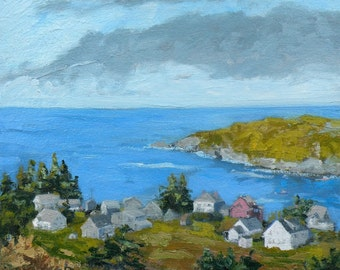 """Manana Island from Monhegan Square SMALL oil painting, 12""""X12"""" , art  by Maine artist Adrienne Kernan LaVallee Art & Collectibles"""