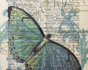 Butterfly On French Dictionary Page,Mixed Media print on 5.5 x 8  French Dictionary page, French Dictionary art, Dictionary print