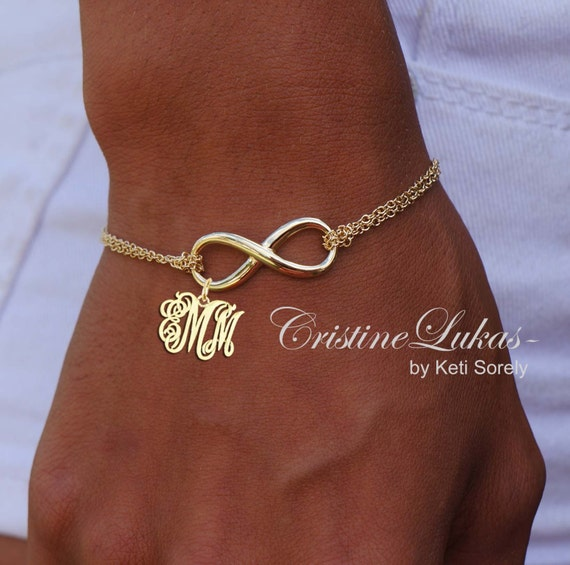 Design Your Own Custom Bangle Charm Bracelet Pick Your Charms: Infinity Bracelet With Initials Monogrammed Initials Charm