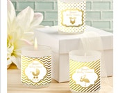 Baby shower candle favors - gold foil candle favors - personalized baby shower candle favors - set of 12