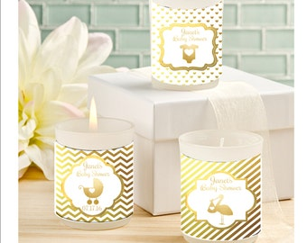 Baby Shower Candle Favors   Gold Foil Candle Favors   Personalized Baby  Shower Candle Favors