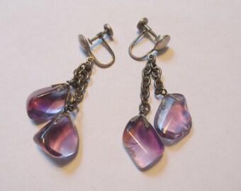 "Vintage Amethyst Sterling Silver Screwback Dangle Earrings, 1.5"" long dangle"