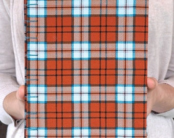 Blue and Orange Plaid Sketchbook or Journal with Spine