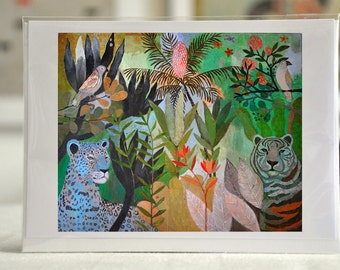 """IN THE WILDERNESS / Greeting Card with envelope (5x7"""") / Tiger print / xmas cards / christmas cards"""