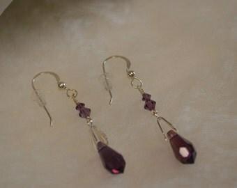 Amethyst and Swarovski Crystal Earrings