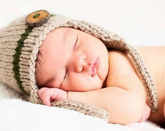 Newborn Photo Prop,Newborn Hat, Newborn Boy Hat, Baby Tan Bomber Hat,Baby Boy Tan Hat with Wood Button, Baby Photo Prop,Baby Boy Hat