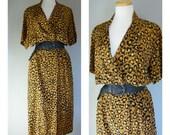 Vintage SILK LEOPARD PRINT Dress/Size Medium-Large