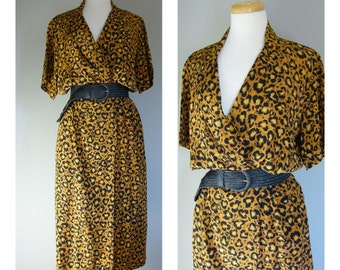 Vintage SILK LEOPARD PRINT Dress/Size Medium-Large