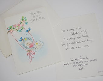 Vintage Baby Gift Thank-You Cards 1960s Unused Baby in Cradle