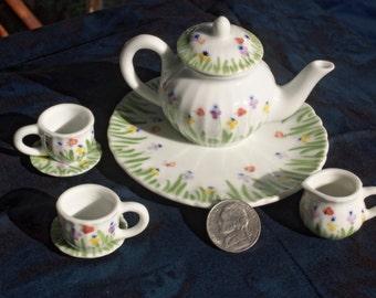 Vintage Mini Tea Set, Old Child Tea Set, Porcelain Tea Set Mini, Fairy Tea Set