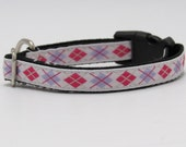 Argyle Dog Collar, Adjustable Dog Collar, Argyle Cat Collar