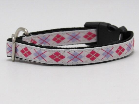 Argyle Dog Collar, Adjustable Dog Collar, Argyle Cat Collar