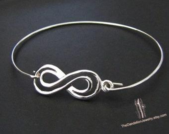 Double infinity Bangle Bracelet, Sterling Silver Bracelet, Jewelry, Gift