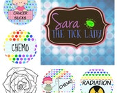 Cancer Planner Stickers — Cancer Sucks, Chemo with IV Pole, Chemo with Polka Dots, Radiation