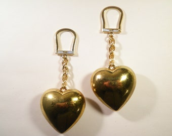 2 Goldplated Horseshoe Key Chains with Large Heart