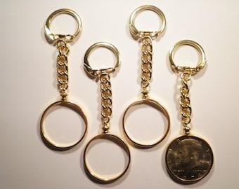 1 Gold Plated U.S. Kennedy Half Dollar Coin Holder Key Chain with 1 Kennedy Half Dollar Included