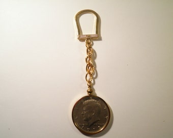 1 Gold Plated Horseshoe Key Chain with Kennedy Half Dollar