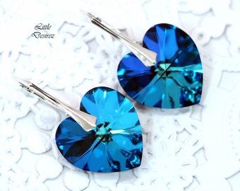 Swarovski Heart Earrings Bermuda Blue Leverback Earrings Bridal Earrings Wedding Earrings Bridesmaid Earrings Sparkly Sterling Silver BB37