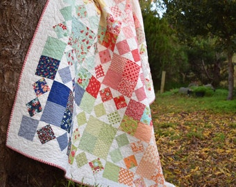 PDF Pattern for Harvest Throw Double Patchwork Quilt. Classic Modern Handmade Quilt from Charm Packs.